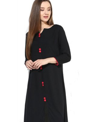 Rayon Black Plain Casual Kurti