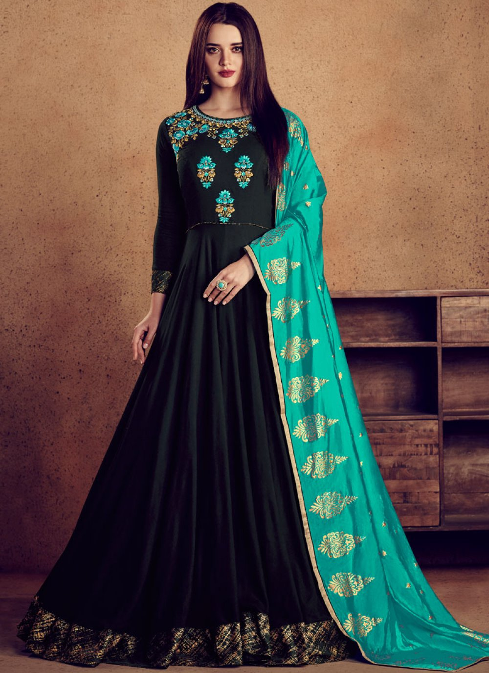 Rayon Black Readymade Designer Gown