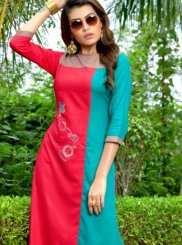 Rayon Blue and Pink Embroidered Casual Kurti