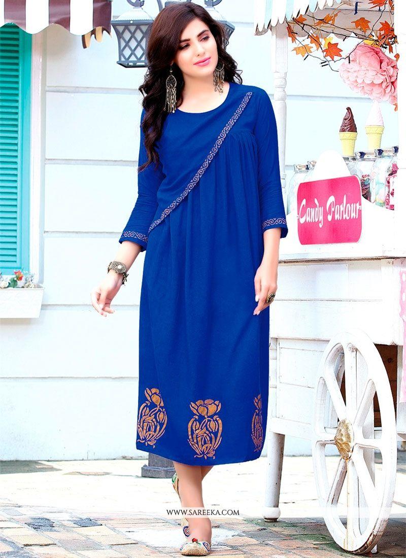Rayon Blue Party Wear Kurti