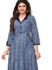 Rayon Blue Print Party Wear Kurti