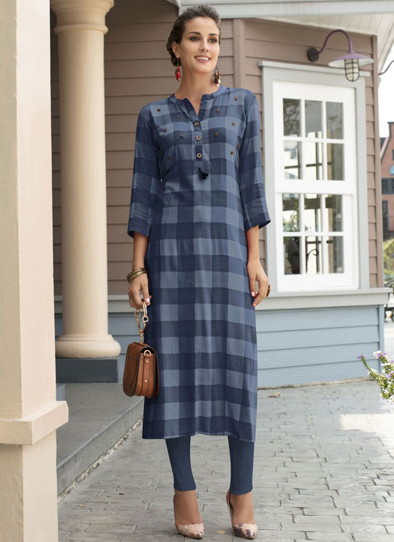 Rayon Blue Printed Work Casual Kurti