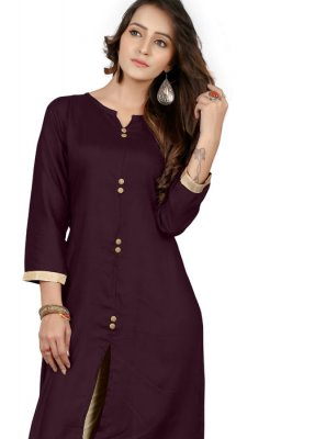 Rayon Brown Plain Party Wear Kurti
