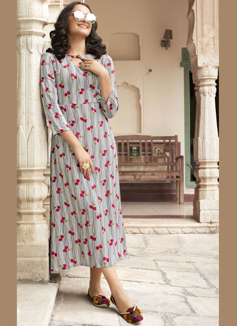 Rayon Casual Kurti in Off White and Pink
