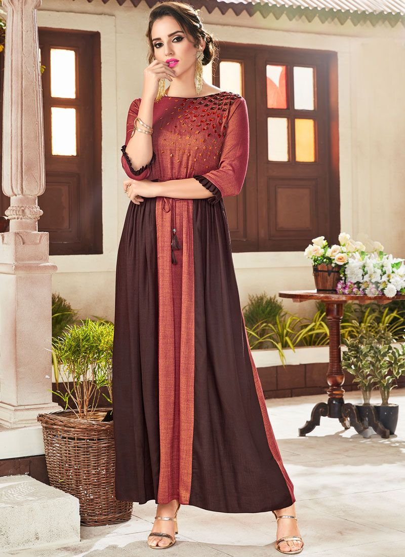 Rayon Embroidered Party Wear Kurti in Brown and Rust