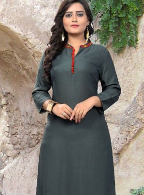 Rayon Embroidered Work Casual Kurti