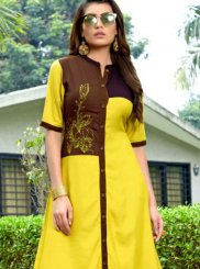 Rayon Embroidered Yellow Casual Kurti