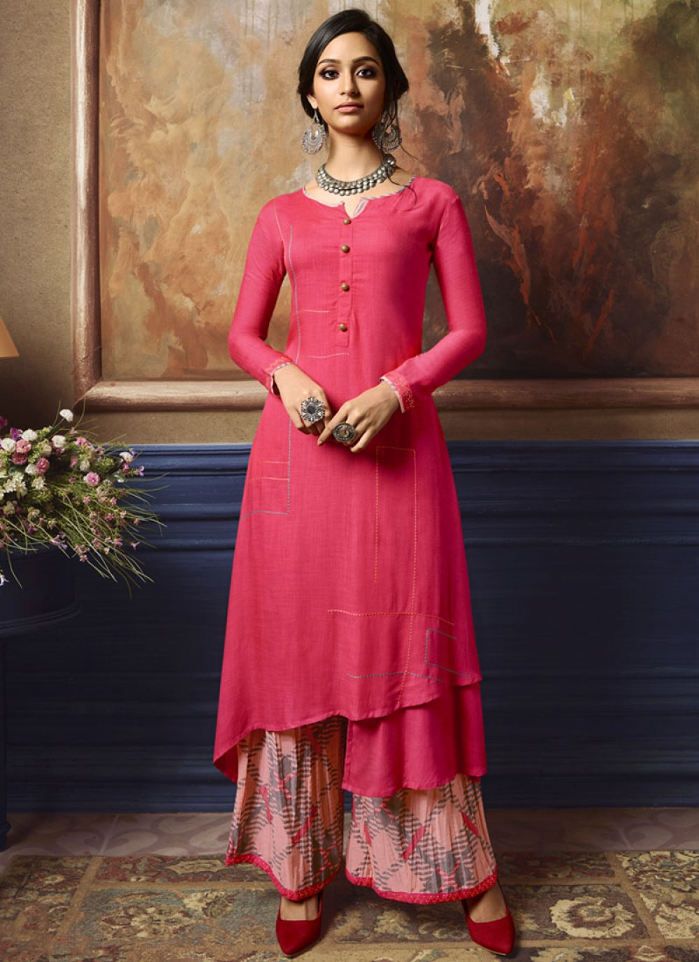 Rayon Fancy Party Wear Kurti in Hot Pink