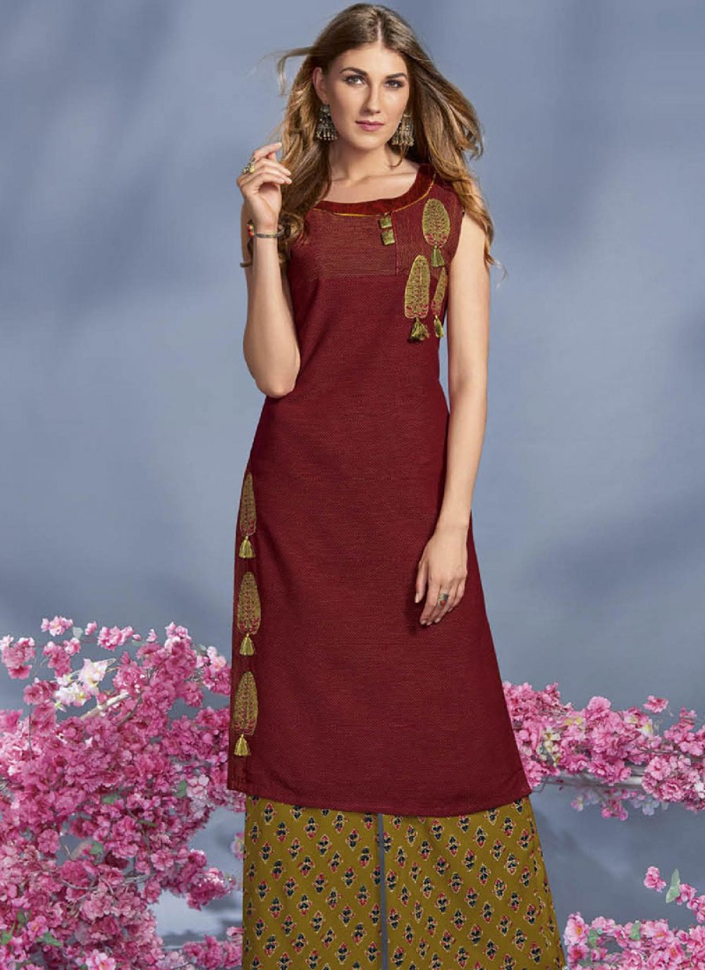 Rayon Maroon Print Work Party Wear Kurti