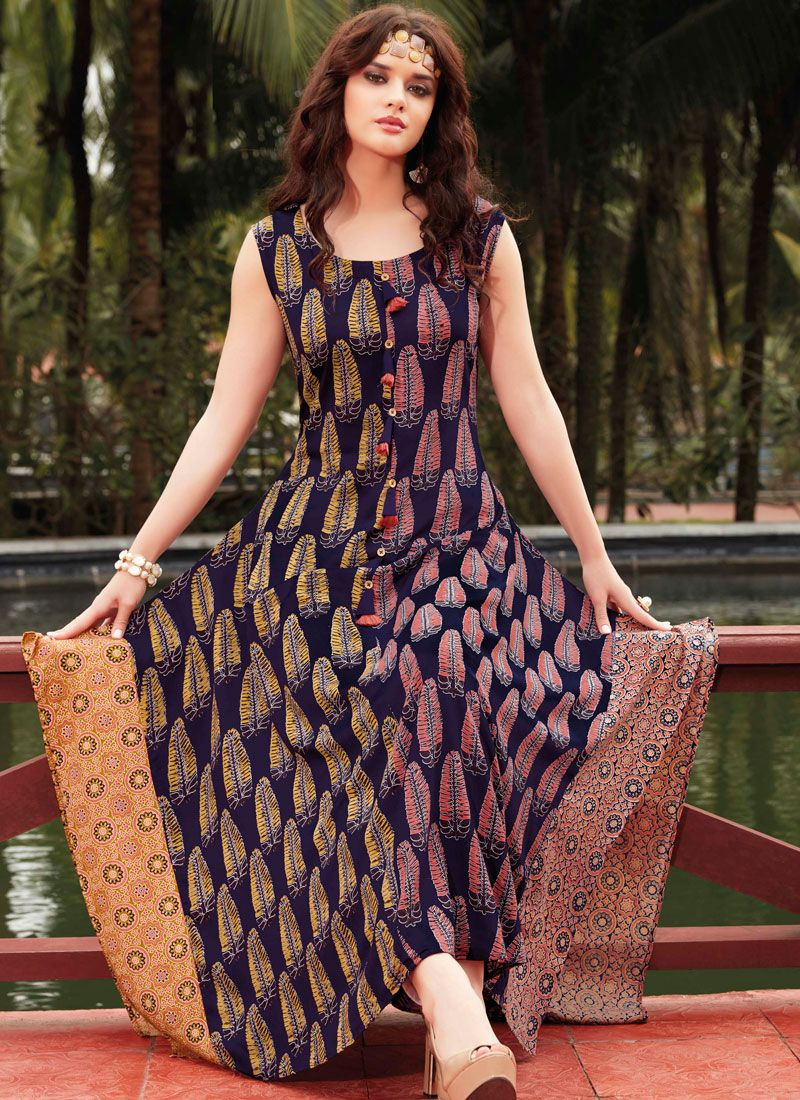 Rayon Multi Colour Print Work Party Wear Kurti