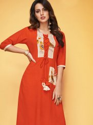 Rayon Orange Print Party Wear Kurti