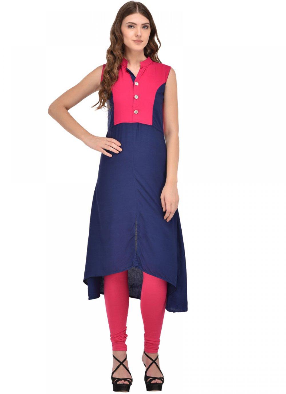 Rayon Party Wear Kurti in Blue