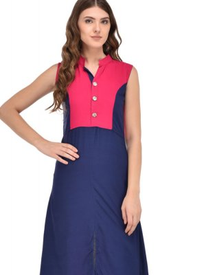 Rayon Party Wear Kurti in Blue