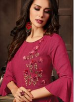 Rayon Party Wear Kurti in Red