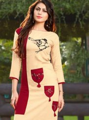 Rayon Patchwork Casual Kurti in Cream and Maroon