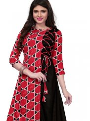 Rayon Print Black and Red Party Wear Kurti