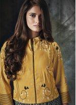 Rayon Print Grey and Yellow Party Wear Kurti