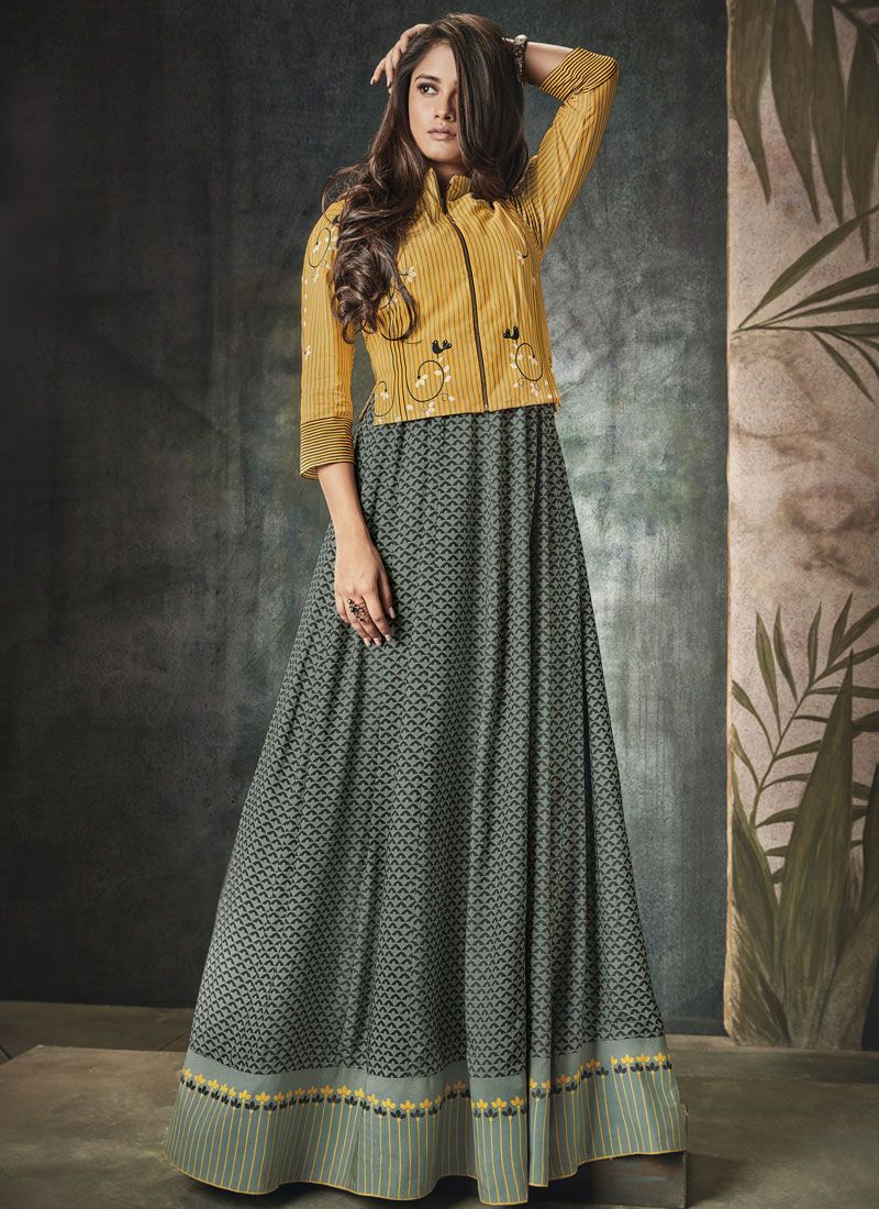 Rayon Print Grey and Yellow Party Wear Kurti