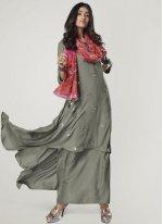 Rayon Print Party Wear Kurti in Grey