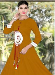 Rayon Yellow Embroidered Work Party Wear Kurti