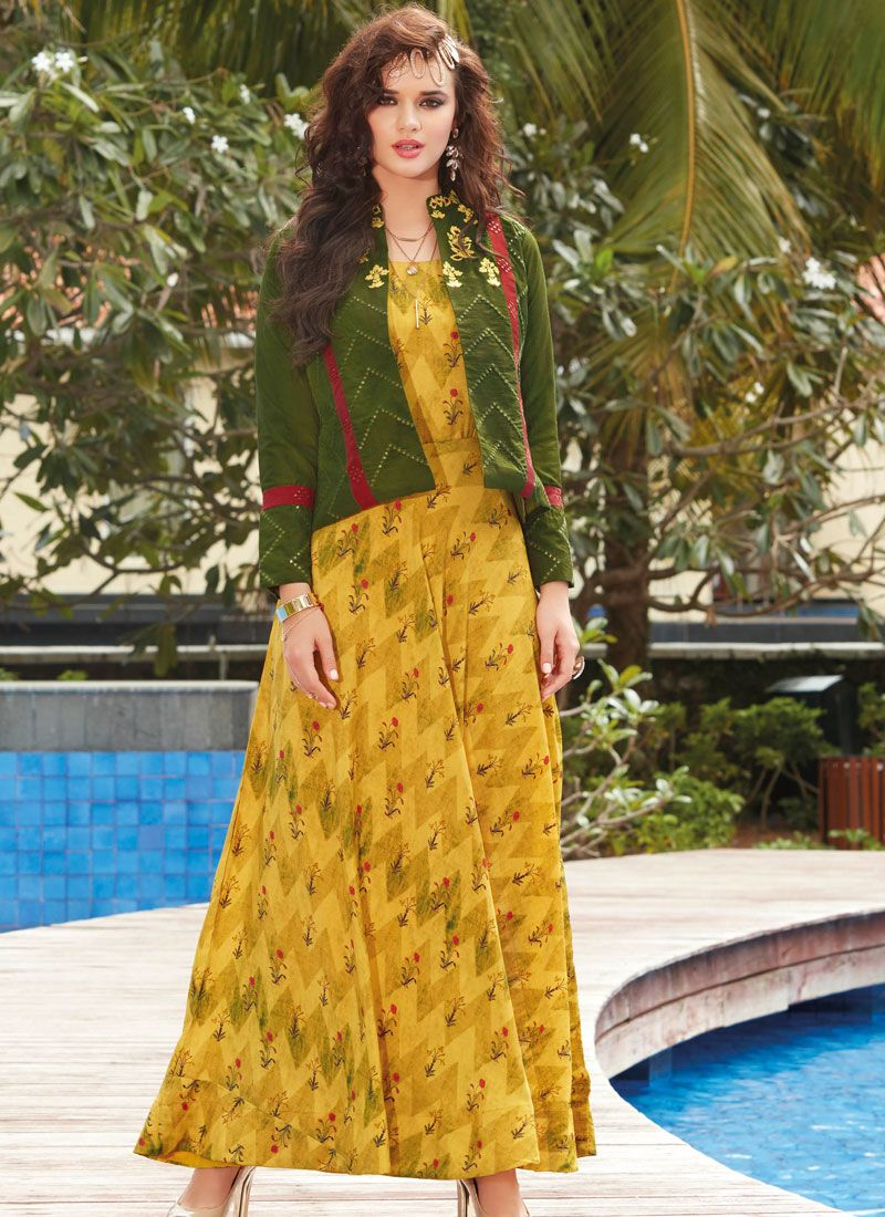 Rayon Yellow Party Wear Kurti