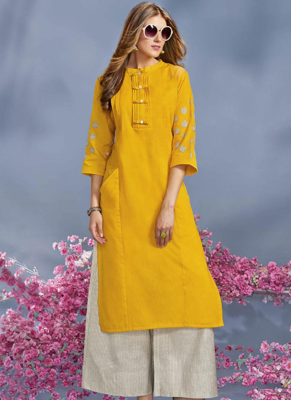 Rayon Yellow Party Wear Kurti