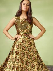 Readymade Gown  Embroidered Satin in Multi Colour