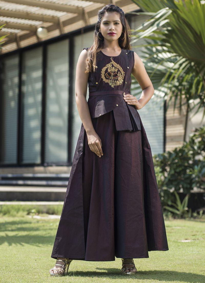 Readymade Gown  Resham Tafeta silk in Wine