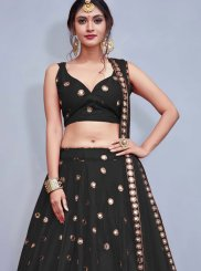 Readymade Lehenga Choli Sequins Tafeta Silk in Black