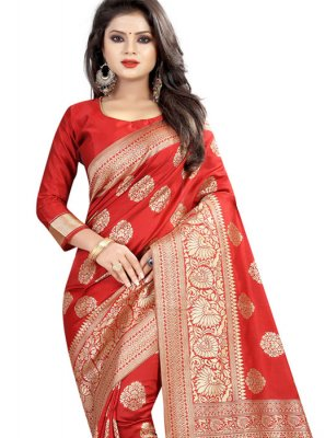 Red Abstract Print Ceremonial Classic Saree
