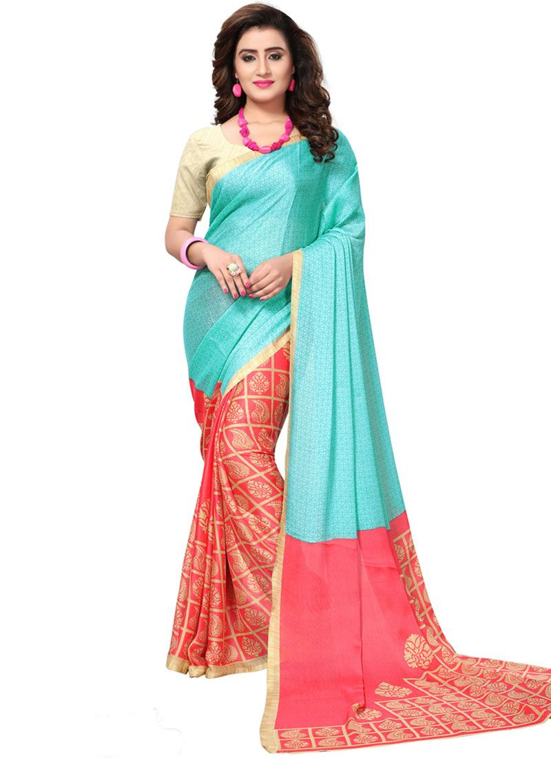 Red and Turquoise Casual Saree