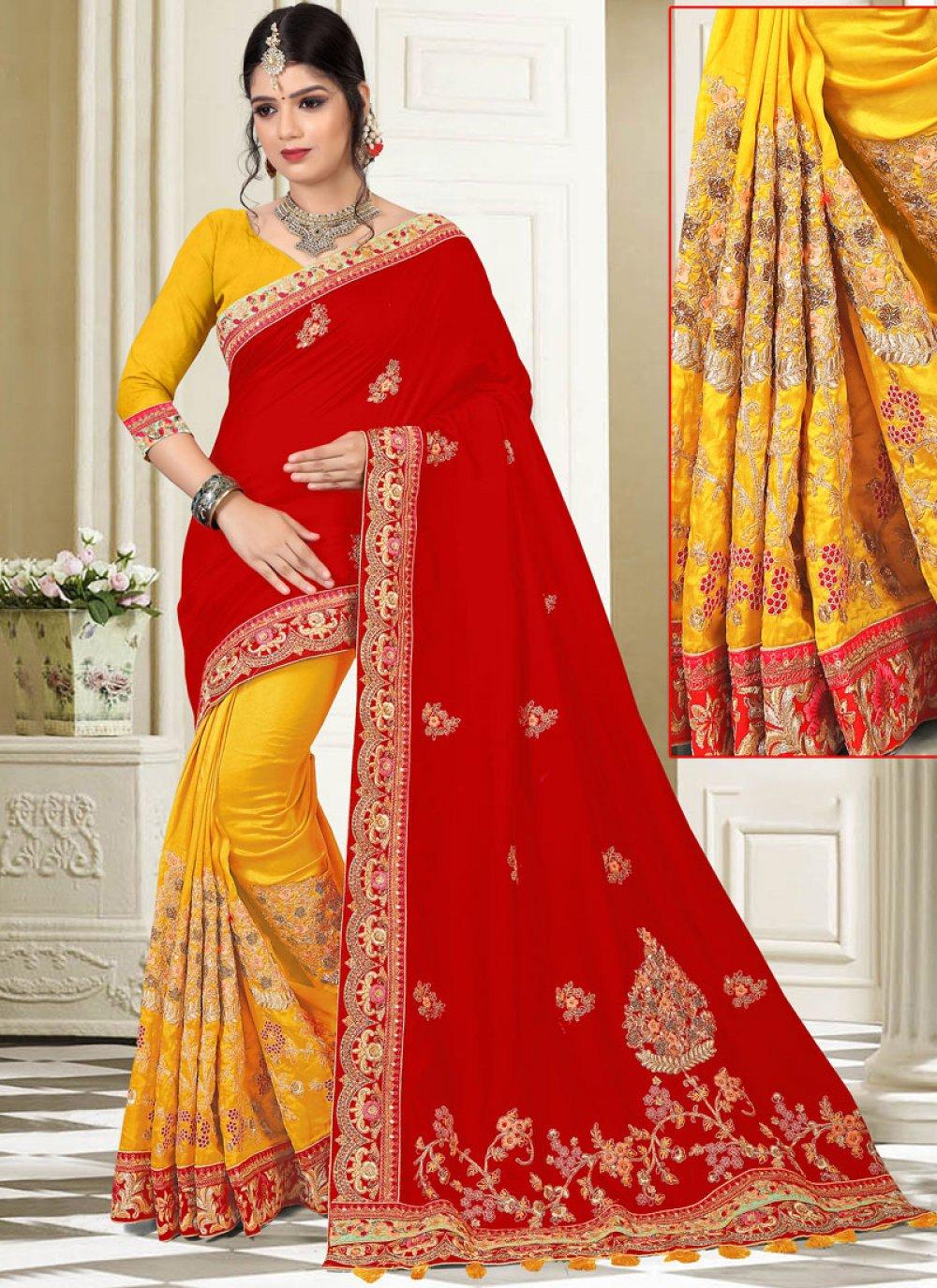 Red and Yellow Art Silk Half N Half Designer Saree