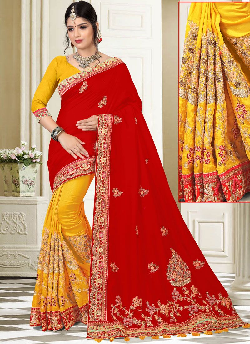 Red and Yellow Art Silk Half N Half Designer Saree