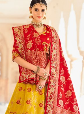 Red and Yellow Art Silk Lehenga Choli