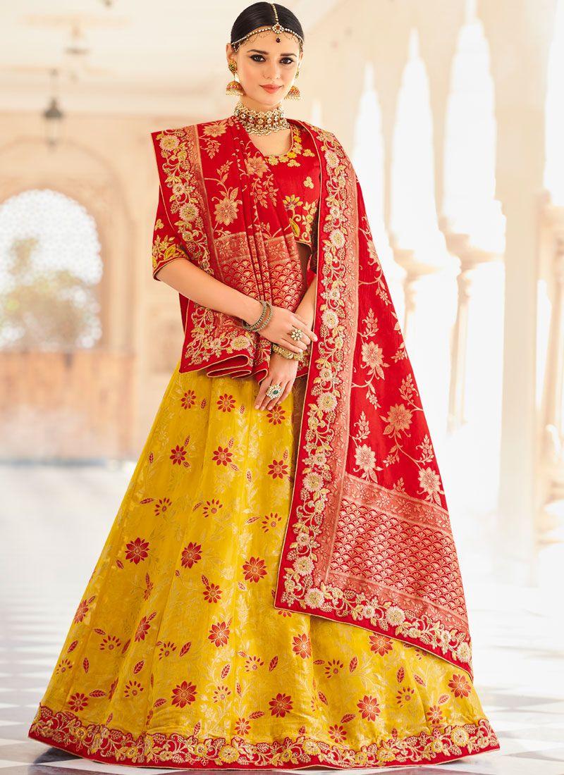 Red and Yellow Art Silk Lehenga Choli