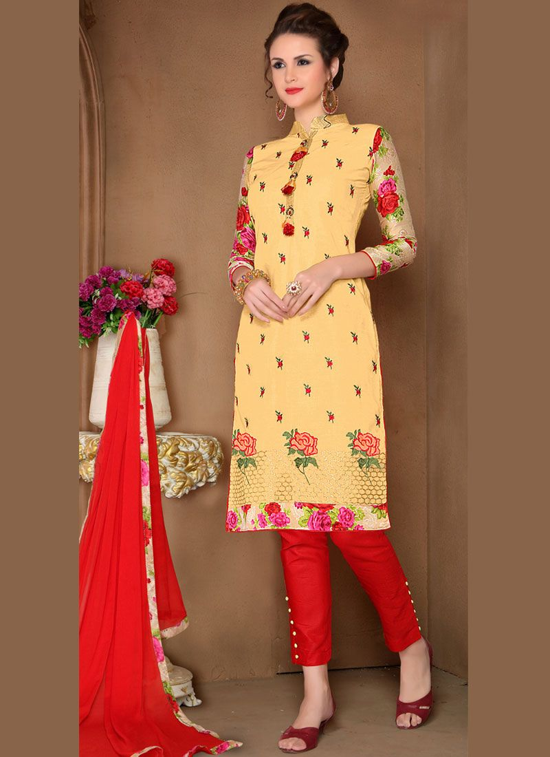 Red and Yellow Party Pant Style Suit