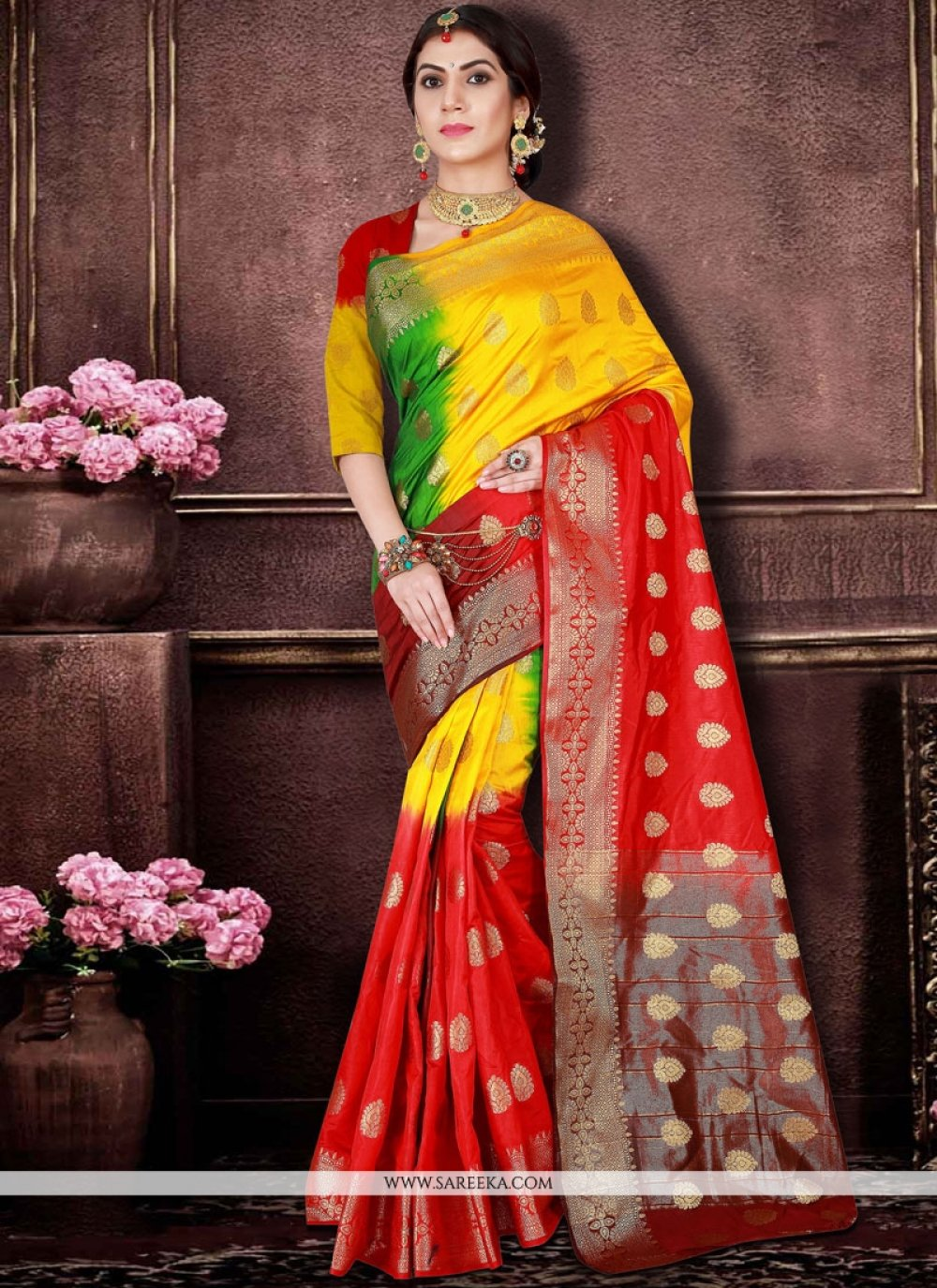 Red and Yellow Traditional Designer Saree
