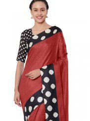 Red Art Silk Print Casual Saree