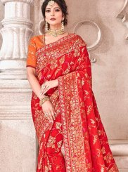 Red Banarasi Silk Bridal Designer Traditional Saree