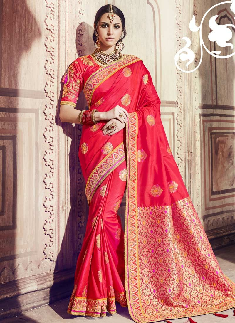 Red Banarasi Silk Ceremonial Trendy Saree