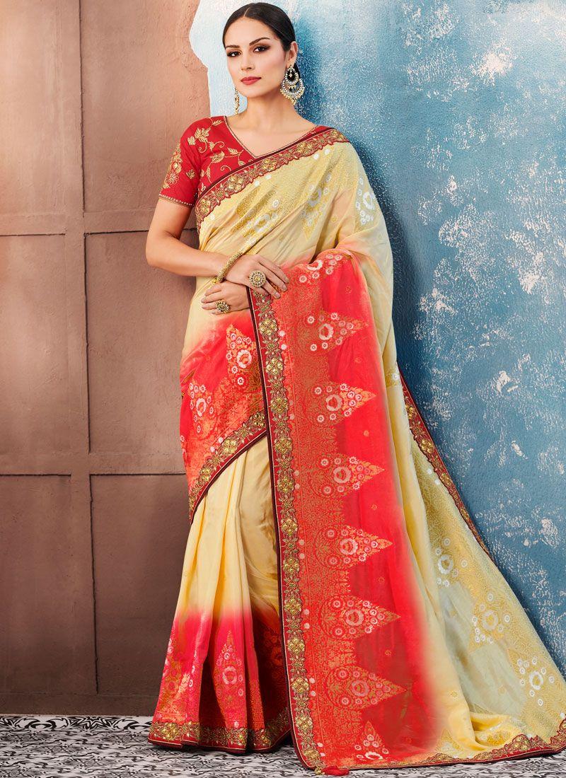Red Border Banglori Silk Classic Saree