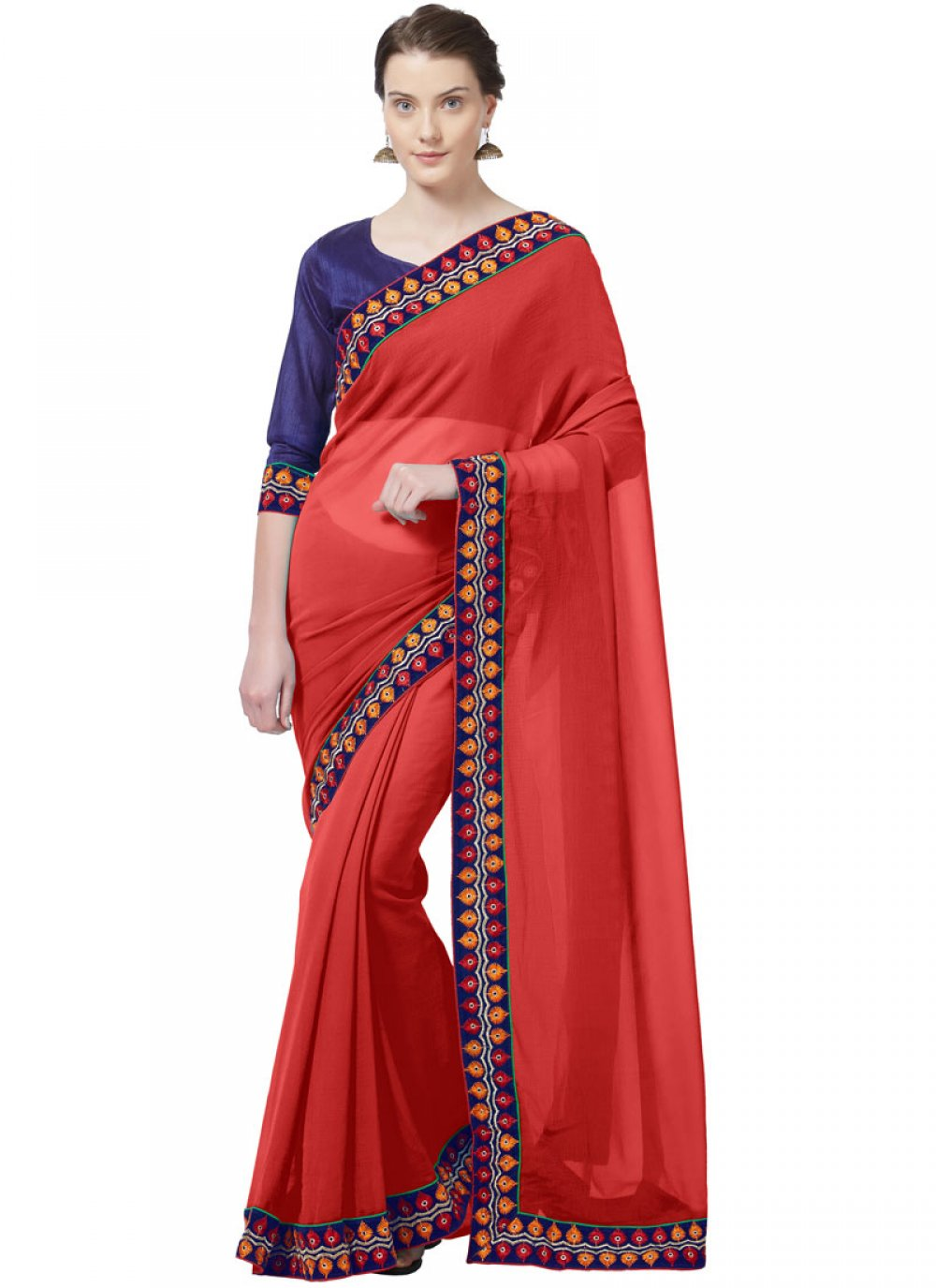 Red Casual Faux Chiffon Casual Saree