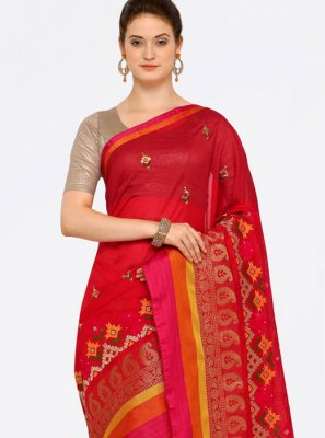 Red Casual Saree