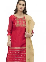 Red Chanderi Churidar Suit