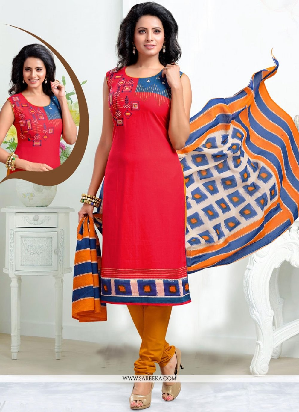Red Chanderi Readymade Suit