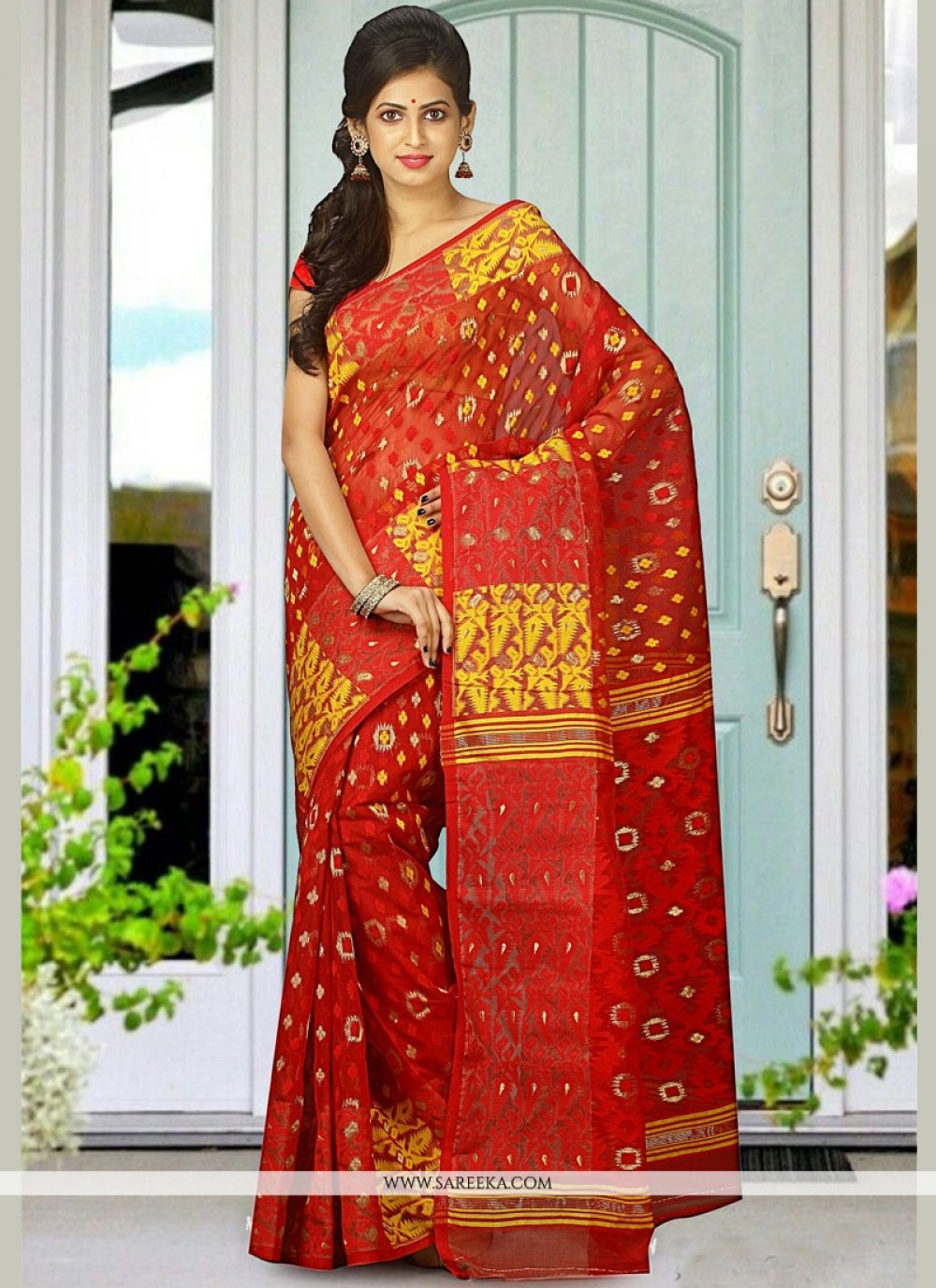 Red Cotton Silk Designer Traditional Saree