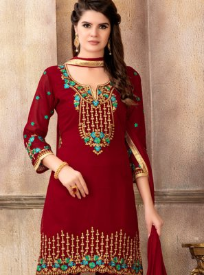 Red Designer Pakistani Suit