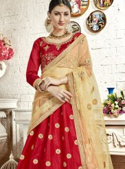 Red Embroidered Banglori Silk Designer Lehenga Choli