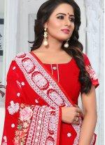 Red Embroidered Classic Designer Saree