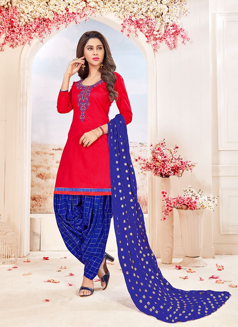 db85981776 Buy Red Embroidered Cotton Salwar Suit Online : 88998 -
